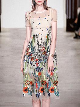 Fashion Gauze Embroidery Short Sleeve Dress