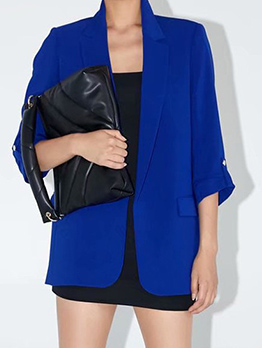 Easy Matching Solid Long Sleeve Casual Blazer