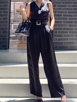 OL Style V Neck Sleeveless Wide Leg Black Jumpsuit