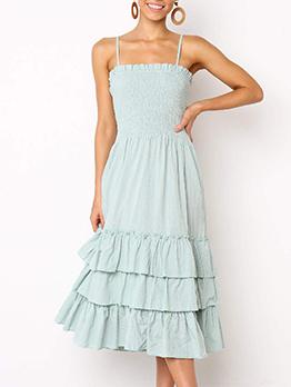Solid Color Flounce Hem Spaghetti Straps Midi Dress