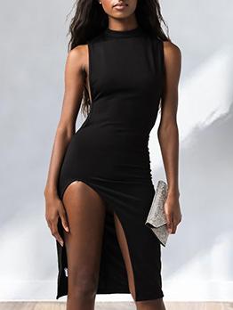 Sexy Split Hem Sleeveless Black Dress
