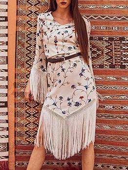 Bohemian Tassel Flower Printing Long Sleeve Dresseeve Dress