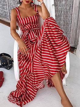 Bohemia Style Square Neck Striped Maxi Dress