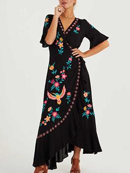 Bohemia Style Embroidery Wrap Maxi Dress