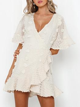 Chic V Neck Short Sleeve White Dress