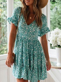Summer Flounce Hem Floral Short Sleeve Dress