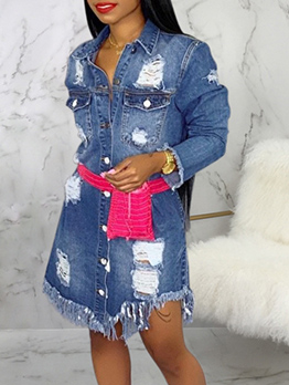 Fashion Hollow Out Tassel Long Sleeve Denim Dress