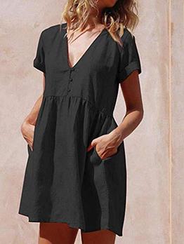 Minimalist V Neck Solid Color Short Sleeve Dress