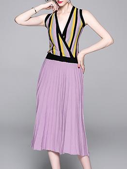 Elegant Deep V Neck Pleated Sleeveless Dress
