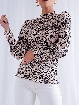Backless Leopard Printed Ladies Blouse