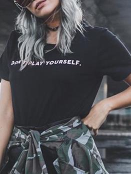 Street Wear Letter Loose Ladies t Shirts