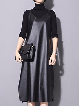 Minimalist V Neck Black Pu Sleeveless Dress