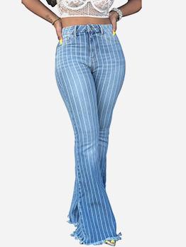 Stylish Striped High Waist Flare Jeans