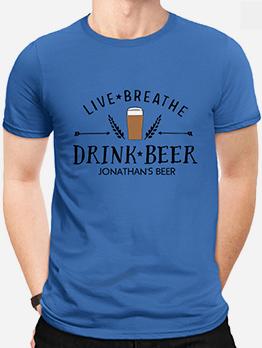 Crew Neck Letter Short Sleeve T-shirts For Men