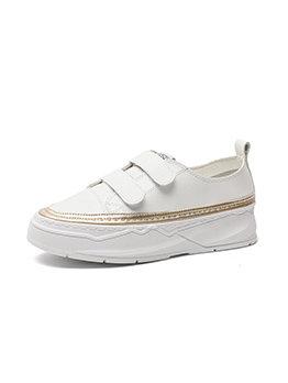 Fashion Hoop Loop Velcro Platform White Sneakers For Women