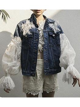 Lace Patchwork Women Lantern Sleeve Denim Jackets
