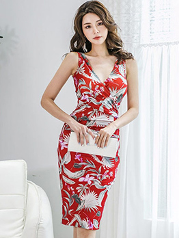 Elegant V Neck Floral Sleeveless Bodycon Dress