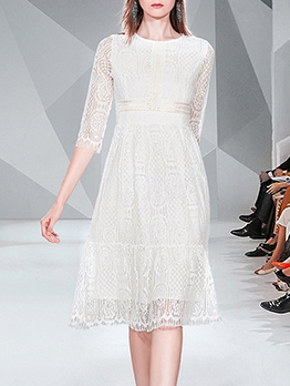 Crew Neck White Lace Long Sleeve Dress