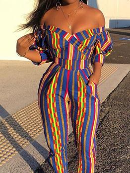 Stylish Contrast Color Striped Short Sleeve Jumpsuit