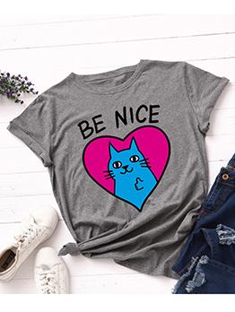 Cute Heart Cat printing Plus Size Tee Shirt