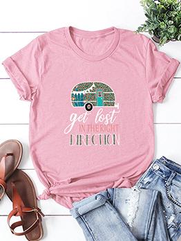 Versatile Round Collar Women T-shirt Printing