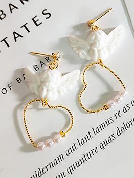 Cute Style Heart Design Cupid Pearl Earrings