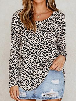 Crew Neck Long Sleeve Leopard Printed t Shirt
