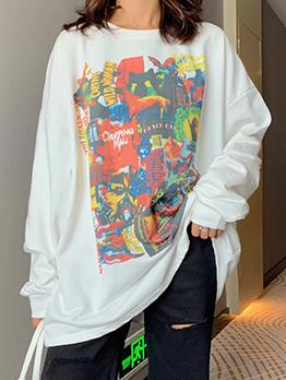 Casual Graffiti Print Loose Long Sleeve Women Sweatshirts