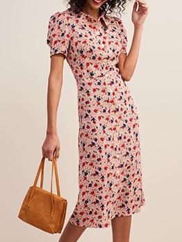 Vintage Doll Collar Floral Print Short Sleeve Dress