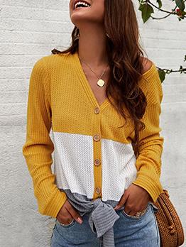 Contrast Color V Neck Long Sleeve Knitwear For Women