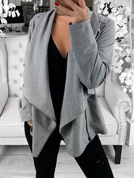 New Style Inclined Zipper Up Women Short Coats
