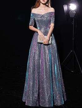Elegant Off The Shoulder Glitter Prom Dresses