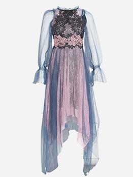Boutique Contrast Color Lace Panel Two Pieces Dress