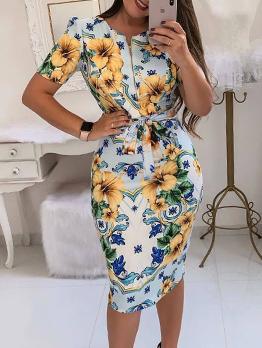 Contrast Color Zipper Up Printing Short Sleeve Dress