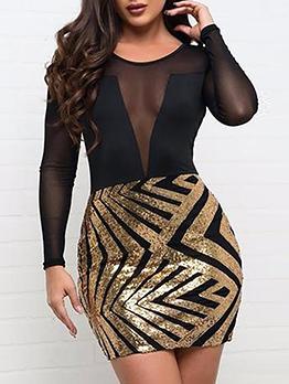 Perspective Sheer Sequin Patchwork Long Sleeve Dress