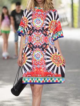 Ethnic Style Multicolored Print Short Sleeve Dress