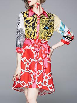 Turndown Collar Lase Up Printed Short Dress