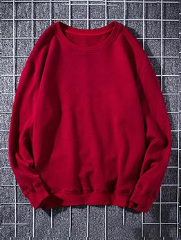 Minimalist Solid Color Cotton Sweatshirts For Men
