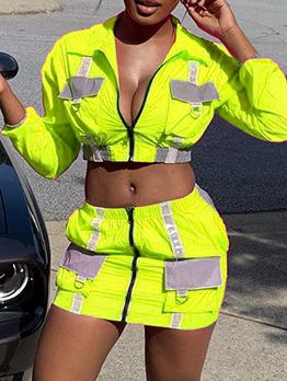 Reflective Fabrics Patch Zipper Two Piece Skirt Sets