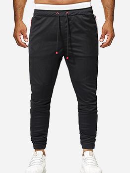 Leisure Contrast Color Drawstring Men Slim Fit Pants