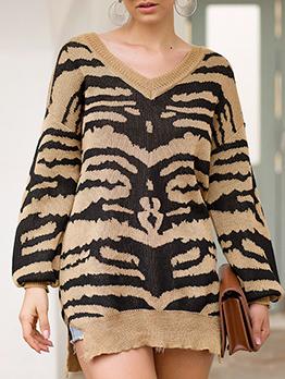 V Neck Zebra Print Patchwork Sweaters For Women