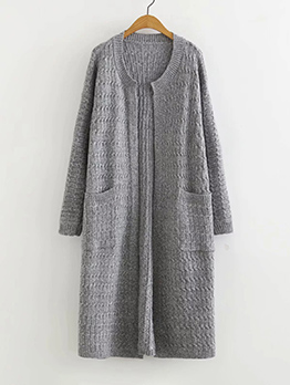 Solid Color Two Pockets Long Cardigan Sweater