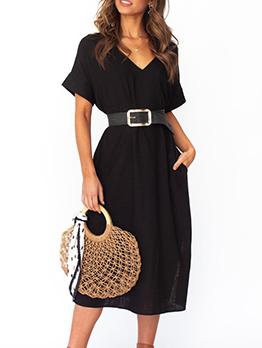 V Neck Short Sleeve Slit Summer Dresses