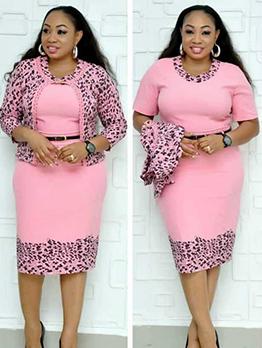 Printed Short Sleeve Dress With Long Sleeve Coat