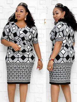 Geometric Print Short Sleeve Dress