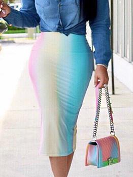Sexy Iridescent Printed Pencil Skirt