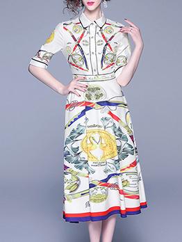 Euro Printed A-line Short Sleeve Dress