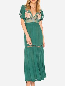 V Neck Flower Embroidery Ruffled Sleeve Maxi Dress
