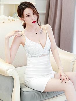 Low-cut Rhinestone Decor Sleeveless Dress