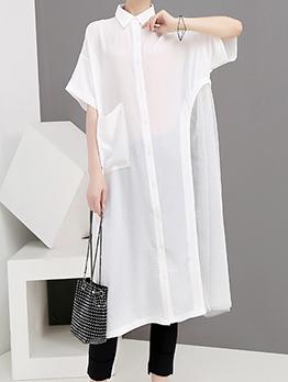 Summer Loose Turndown Collar Shirt Dresses